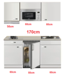 Kitchenette 170cm met koelkast en kookplaat en magnetron en afzuigkap RAI-4331