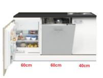 3-in-1 minikeuken + vaatwasser + koelkast 160cm RAI-1003