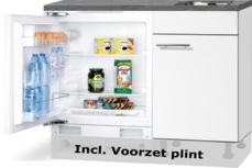 Keukenblok 110cm Wit mat met inbouw koelkast en rvs spoelbak RAI-43012