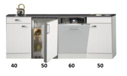 Kitchenette 200cm wit hoogglans met vaatwasser en koelkast en kookplaat RAI-447