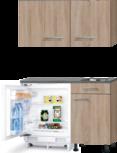 Keukenblok 110cm Houtnerf met inbouw koelkast en rvs spoelbak RAI-435