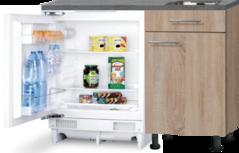 Keukenblok 110cm Houtnerf met inbouw koelkast en rvs spoelbak RAI-4366