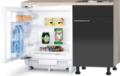 Keukenblok 110cm Antraciet glans met stelpoten, inbouw koelkast en rvs spoelbak RAI-955