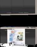 keukenblok 150cm antraciet glans met wandskasten incl inbouw koelkast RAI-3901