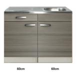 Keukenblok Grijs-bruin Vigo 120cm met rvs werkblad 120cm RAI-522