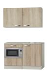 Keukenblok 120cm Houtnerf wandkasten en magnetron RAI-580