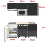 kitchenette Antraciet Hoogglans 180cm met vaatwasser, koelkast, e-kookplaat, afzuigkap en magnetron RAI-0341