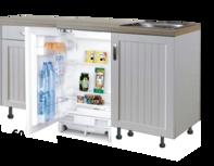 Design Keukenblok 180cm MDF met inbouw koelkast RAI-8111
