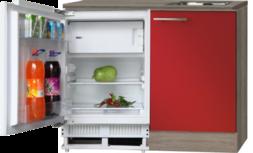 Keukenblok Imola Rood hoogglans met inbouw koelkast 120cm RAI-4422