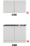 Kleine keuken 100cm x 50cm diep met rvs spoelbak en wandkasten RAI-9913