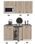keukenblok 150 met inbouw koelkast, magnetron en 2-pit elektrisch kookplaat RAI-332