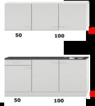 Kleine keuken 150cm x 50cm diep met een la en rvs spoelbak en wandkasten RAI-9915