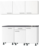 Kitchenette 180 cm wit mat met stelpoten en wandkasten RAI-0144