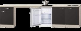 Kitchenette Faro Antraciet 300cm met koelkast HRG-588
