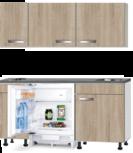 Kitchenette 150cm Padua incl wandkasten en inbouw koelkast RAI-500