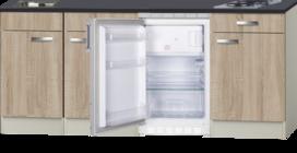 Kitchenette Houtnerf 210cm met koelkast en kookplaat HRG-500