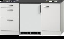 Kitchenette 150cm wit hoogglans met koelkast en kookplaat RAI-53