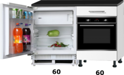 Keukenblok 120cm incl inbouw koelkast en oven RAI-773