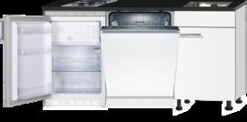 Kitchenette 160cm wit glans mat met vaatwasser en koelkast en kookplaat en magnetron en afzuigkap RAI-4333