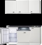 Kitchenette 160cm wit hoogglans met vaatwasser en koelkast en kookplaat RAI-42
