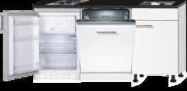 Kitchenette 160cm wit mat met vaatwasser en koelkast en kookplaat RAI-4333
