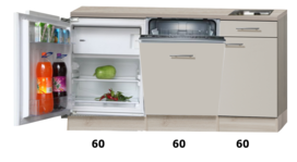 Kitchenette 180cm zand-cream glans met vaatwasser en inbouw koelkast RAI-885