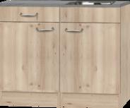 Keukenblok 100cm x 60cm steigerhout look met rvs spoelbak RAI-377