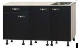 keukenblok Antraciet zijdeglans-glans 130 cm incl spoelbak RAI-844