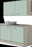 keukenblok 120 x 60 cm groen met stelpoten en een la en wandkasten RAI-878