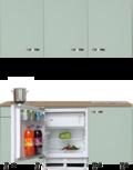 kitchenette 180 cm groen met stelpoten en inbouw koelkast en wandkasten RAI-409