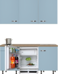 kitchenette 180 cm blauw met stelpoten en inbouw koelkast en wandkasten RAI-410