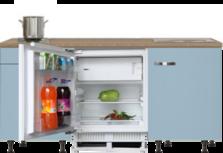 kitchenette 180 cm blauw met stelpoten en inbouw koelkast RAI-405