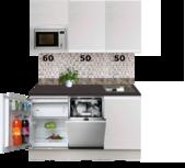 Kitchenette 160cm greeploos wit met koelkast en vaatwasser RAI-550