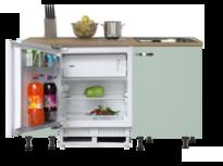 kitchenette 150cm groen met stelpoten en inbouw koelkast RAI-770