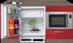 kitchenette 160cm rood incl inbouw koelkast en inbouw combi magnetron RAI-4499
