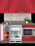 kitchenette 160cm rood incl inbouw koelkast en inbouw combi magnetron RAI-4444