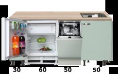 kitchenette 190cm groen mat incl inbouw koelkast en vaatwasser RAI-4120