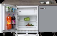 Kitchenette 160cm grijs met inbouw koelkast en stelpoten RAI-884