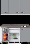 Kitchenette 160cm grijs met inbouw koelkast en wandkasten RAI-885