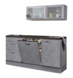 keukenblok 180cm betonlook met vaatwasser en glazen wandkast 120cm RAI-884