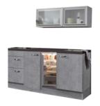 keukenblok 180cm betonlook met koelkast en glazen wandkast 120cm RAI-885