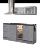 keukenblok 180cm betonlook met koelkast, afzuigkap en glazen wandkast 120cm RAI-886