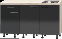 Rechte keuken 150cm Antraciet hoogglans met stelpoten RAI-3392
