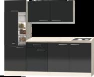 Rechte keuken Antraciet hoogglans met stelpoten 210cm RAI-391