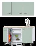 Keukenblok 140 Groen met kookplaat, inbouw koelkast en wandkasten RAI-925