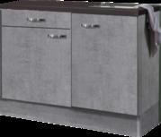 keukenblok 120cm Betonlook met stelpoten RAI-0101