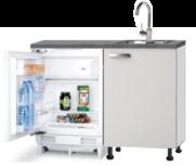 Kitchenette 120cm wit glans incl inbouw koelkast RAI-04114
