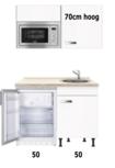 Kitchenette wit Glans 100cm met inbouw magnetron en onderbouw koelkast OPTI-258