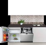 Kitchenette 170cm greeploos wit met koelkast en vaatwasser RAI-551