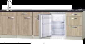 Kitchenette Neapels 240cm incl koelkast en e-kookplaat HRG-025